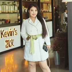辣妈起义加肥加大码女装2017秋装新款胖mm显瘦蕾丝外套中长款风衣