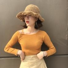 上衣 斜肩长袖 新款 针织衫 韩国复古chic风小心机露肩一字领薄款 秋装
