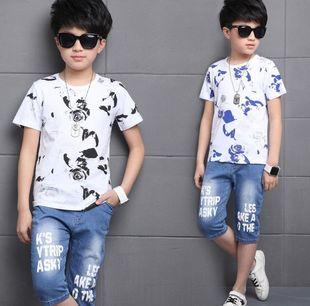 热卖男童套装2017夏季儿童中大童玫瑰花短袖t恤牛仔中裤两件套