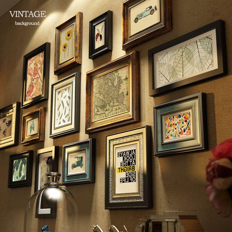 做旧复古挂墙客厅走廊玄关组合画实木美式乡村照片墙相框欧式挂墙