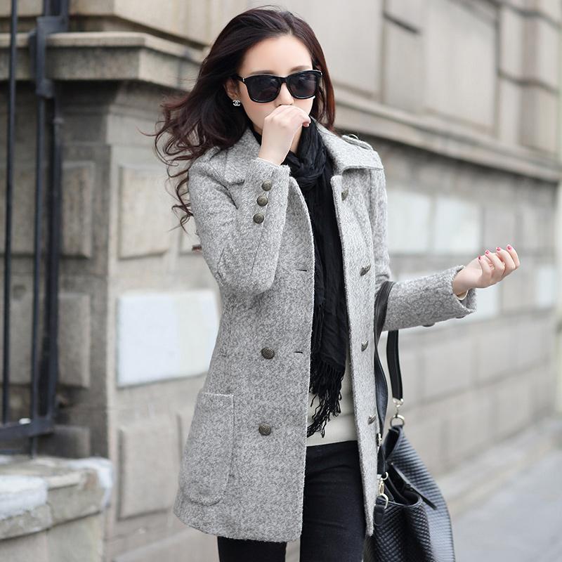 女装外套大毛呢外套外套女毛呢大衣袖套加绒加厚长袖修身双排扣