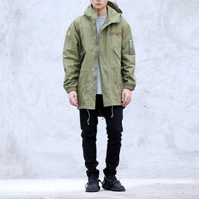 欧美潮牌高街军事风M51燕尾中长款嘻哈宽松风衣男 余文乐工装外套