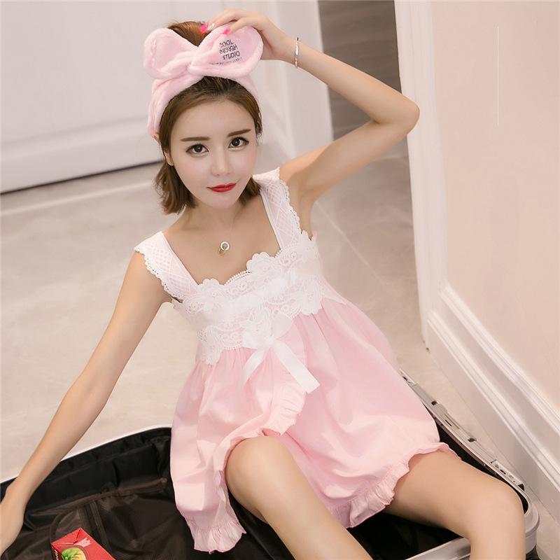 韩版睡衣女夏纯棉吊带套装甜美可爱公主全棉睡裙子服
