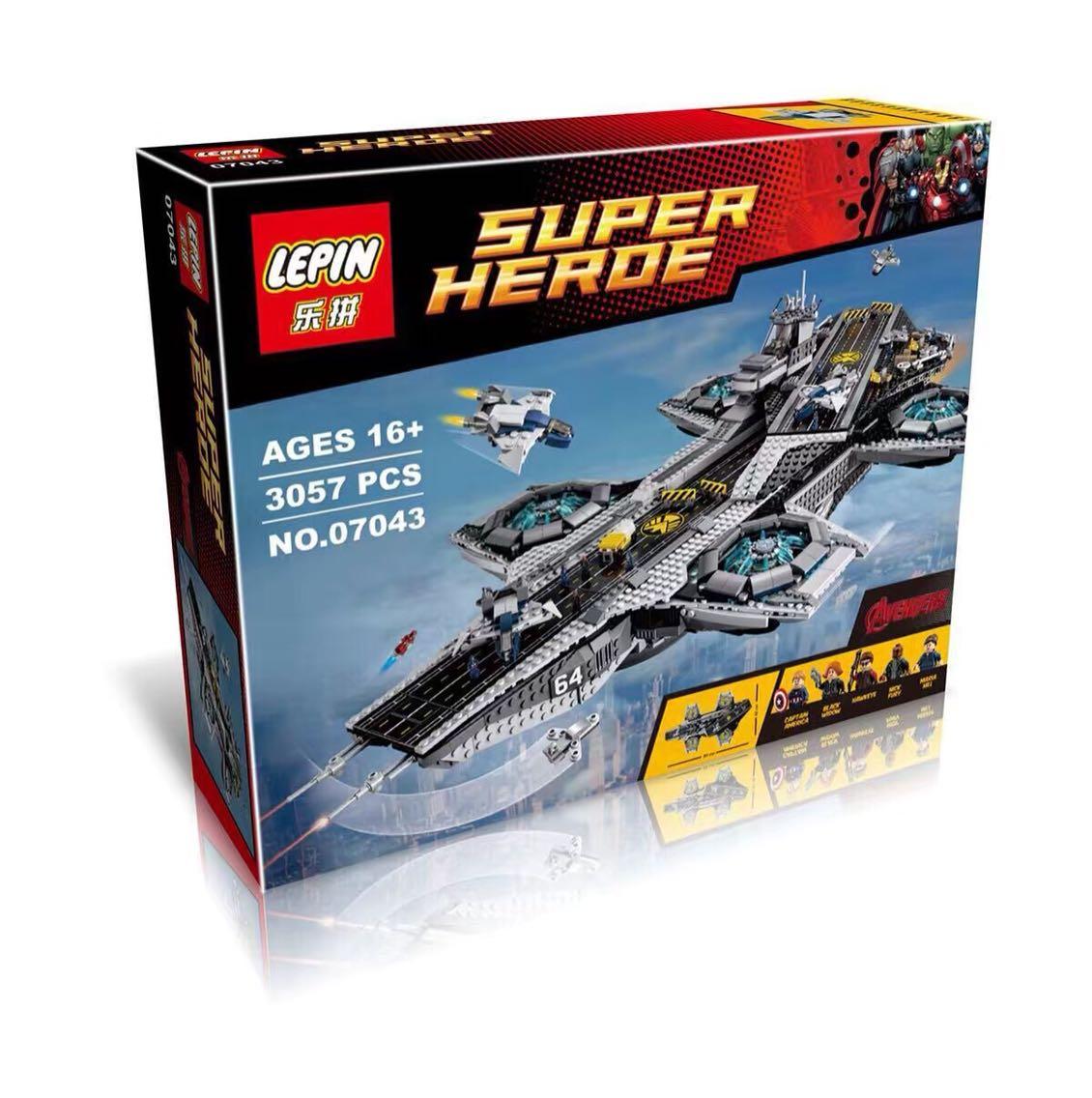 新款乐拼积木高76042超级英雄复仇者联盟07043神盾局航母积木玩具