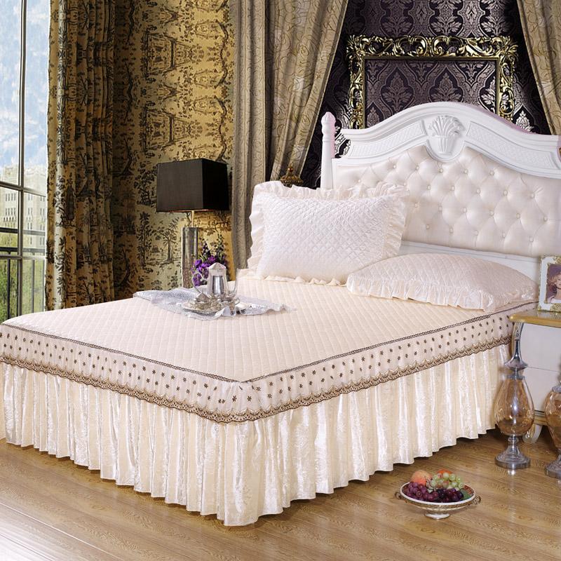 欧式蕾丝床裙夹棉加厚床罩床笠单件床套纯色床盖1.51.8 2.0米包邮
