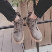 港仔男士马丁靴秋冬潮流复古短靴男靴子头层皮大头皮鞋低帮休闲鞋