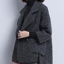 2017秋冬新款斗篷毛呢外套女短款潮气质宽松大码女士羊毛呢料大衣