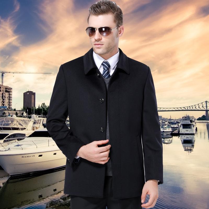 男士外套商务休闲男纯色羊绒大衣正装职业装老板衣服冬天棉衣BOSS