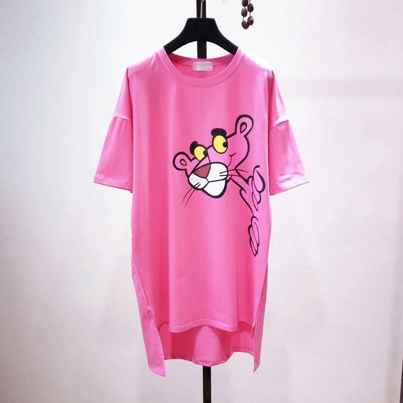 韩国代购2017夏季宽松东大门卡通中长款T恤女 短袖连衣裙体恤裙