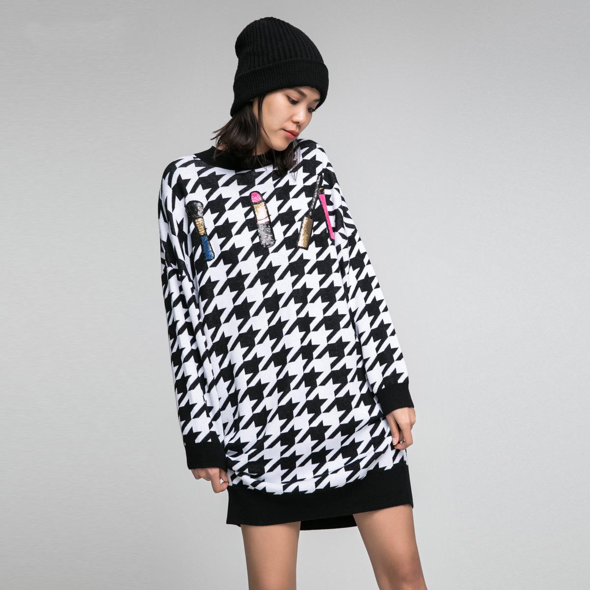 ONLY冬季中长款套头宽松针织连衣裙女|116446504