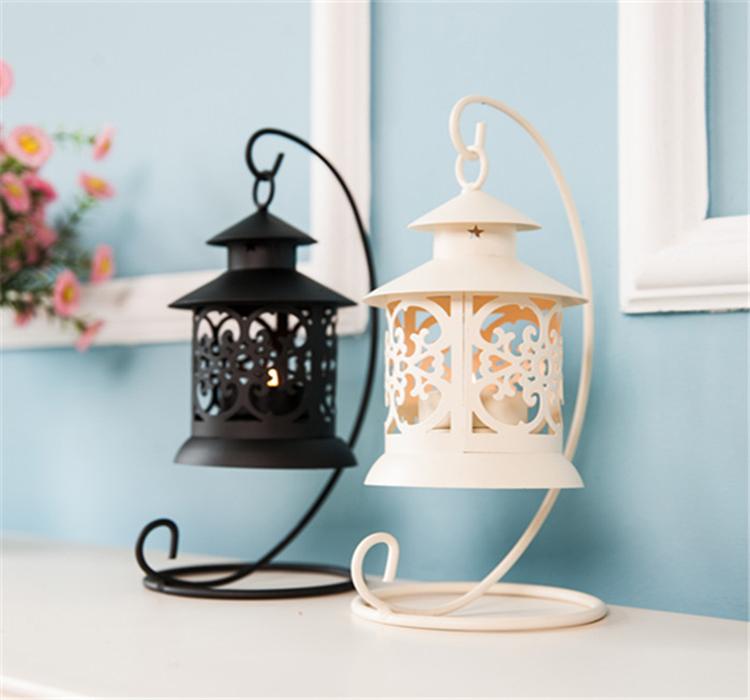 欧式古典铁艺风灯玻璃烛台摆件蜡烛台马灯婚庆情人节