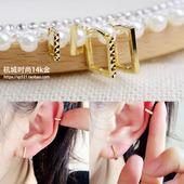 韩国正品14k/10K黄金耳环耳圈耳骨环 简单切面光面方形耳扣气质