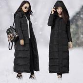 天天特价2017冬季新款韩版超长过膝长款羽绒服女加长修身加厚大码