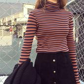 高领黑白条纹t恤女长袖秋冬上衣2017新款百搭修身内搭针织打底衫