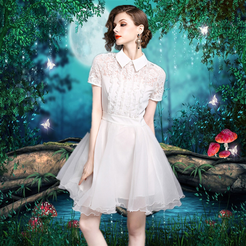 2017夏季女装名媛白色修身显瘦高腰连衣裙蓬蓬裙日常宴会聚会礼服