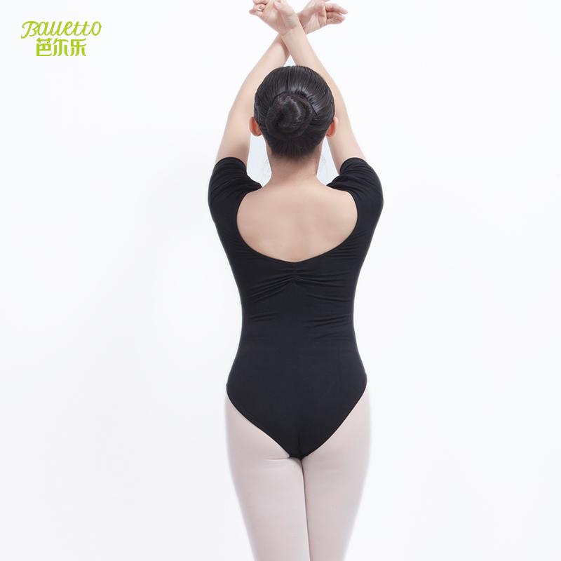 形体舞蹈练功服教师演出服短袖芭蕾舞练功服**女连体服舍宾服新