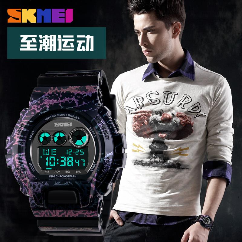 时刻美个姓电子手表防水户外运动男士手表潮流时尚迷彩男学生腕表
