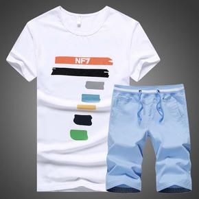 夏装男生短袖T恤圆领青少年学生纯棉男套装