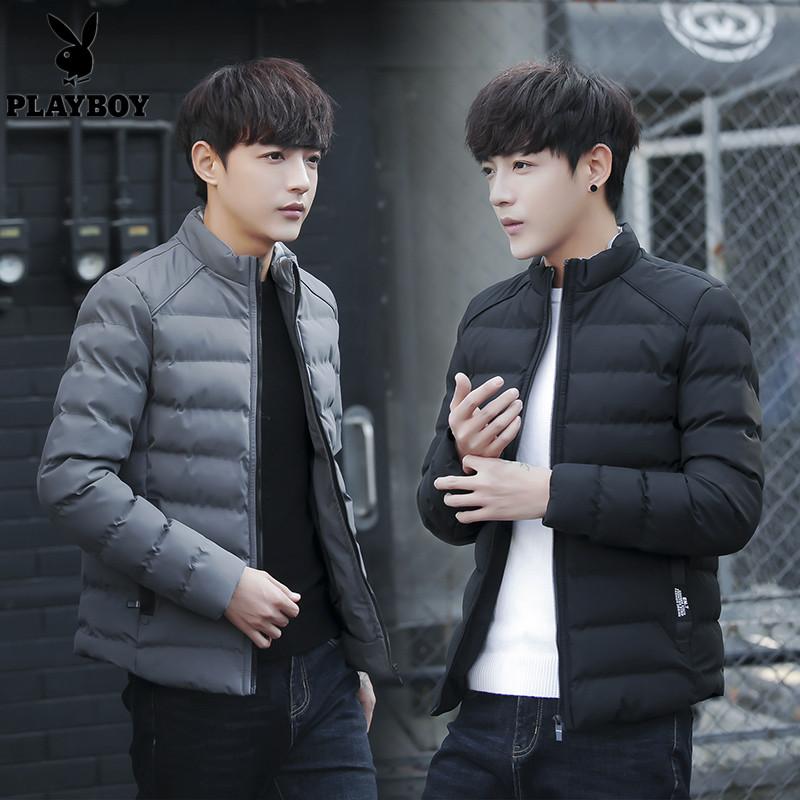 花花公子男士冬季新款羽绒服韩版修身青年潮流加厚保暖男装外套