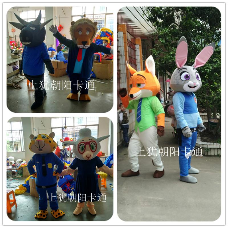 疯狂动物城朱迪尼克闪电卡通人偶服装兔子狐狸树懒行走演出动漫服