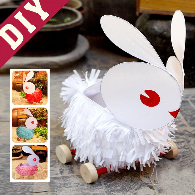 中秋节diy灯笼儿童手工制作材料包 纸灯笼礼物益智玩具户外兔子