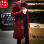 冬季毛衣秋季中国风男士风衣大码大衣中长款针织外套披风男装胖子
