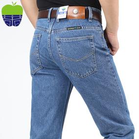 正品苹果牛仔裤春秋款 高腰宽松男士中年长裤 纯棉免烫经典厚款