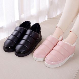 冬季PU皮防水滑棉鞋包跟月子鞋室内保暖厚底情侣男女居家居棉拖鞋