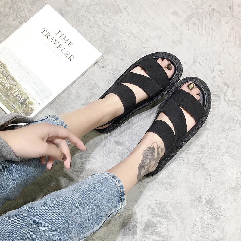 罗马凉鞋 休闲厚底潮中跟学生凉鞋平底 夏季鞋子