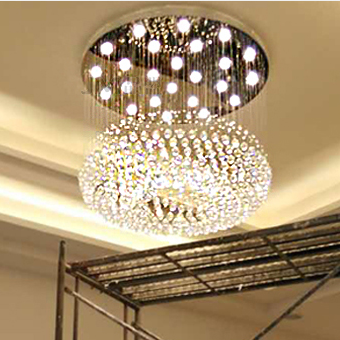现代简约时尚led吸顶水晶灯圆形客厅吊灯大气奢华