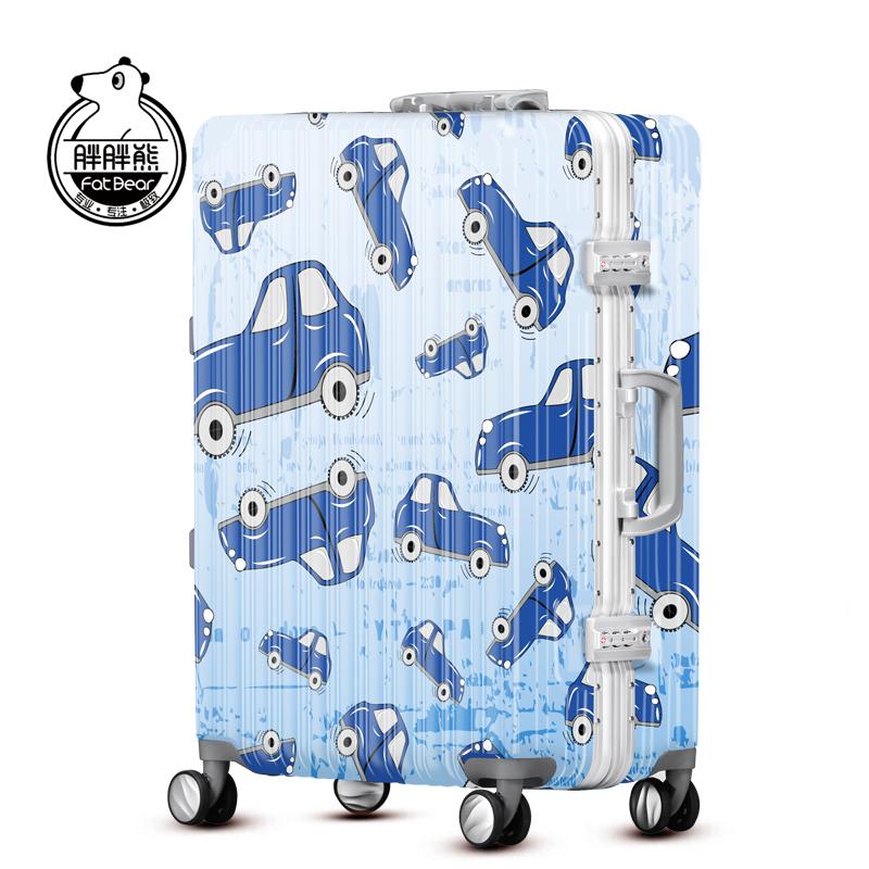 胖胖熊汽车行李箱拉杆万向轮24登机箱20密码箱个性轻旅行箱YQY251
