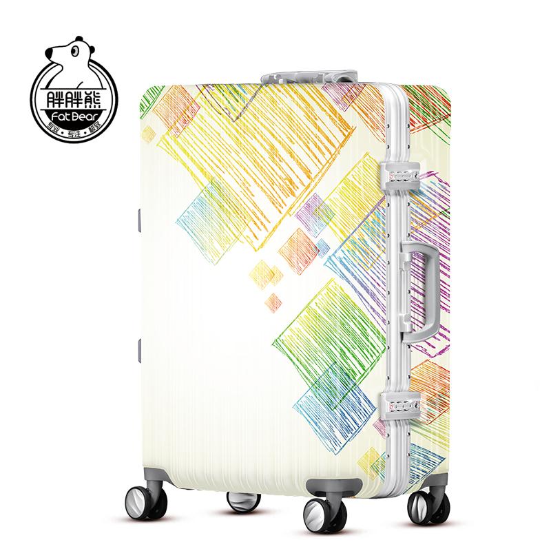 胖胖熊印花涂鸦拉杆箱女学生行李箱铝框旅行箱20寸登机箱fd170