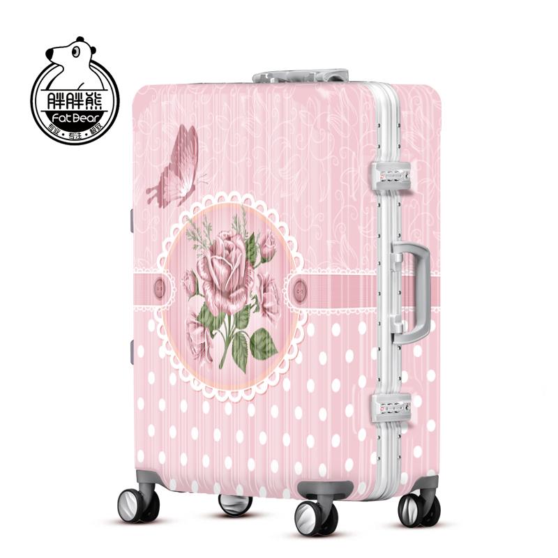 胖胖熊粉色拉杆箱万向轮女20寸登机行李箱旅行箱出国托运箱WLH142