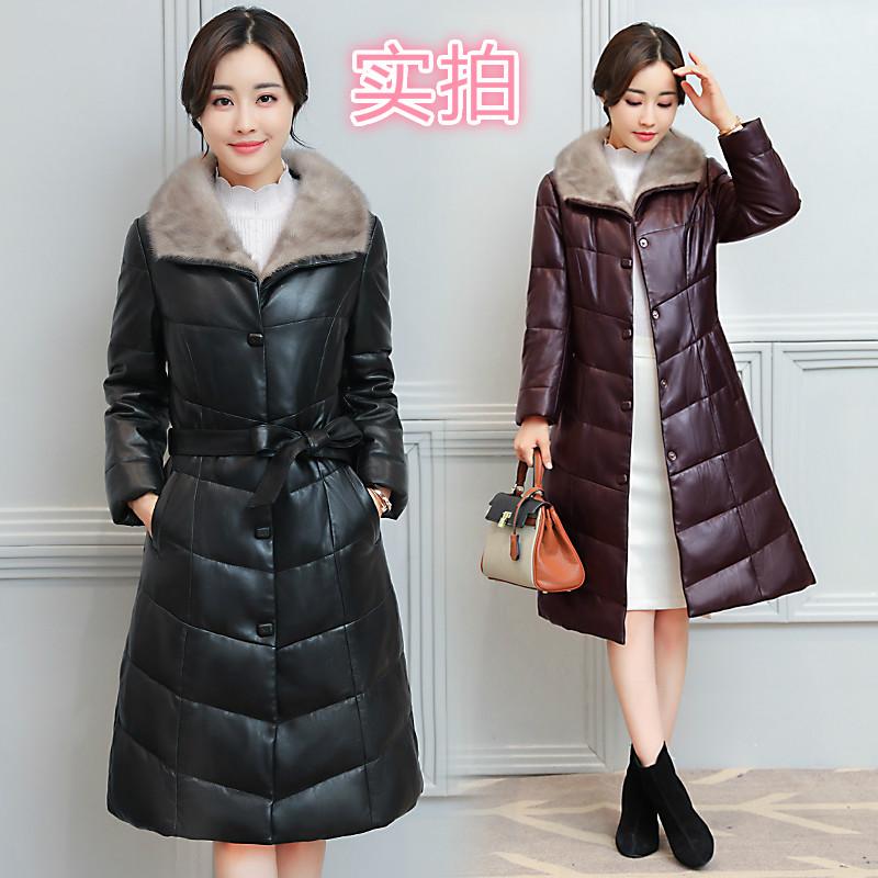 品牌女装特卖冬新款女水貂领皮草大码外套仿皮羽绒服中长款皮衣潮
