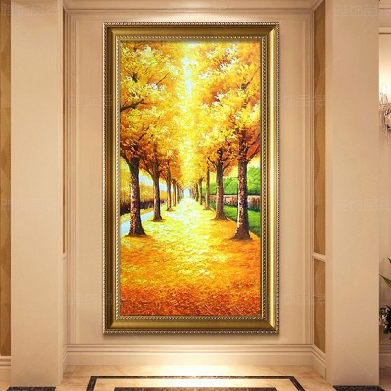 油画欧式手工风景玄关装饰画过道竖版定制壁画挂画发财树黄金大道