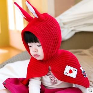 新款儿童兔耳朵披肩卡通毛线套装 韩版秋冬宝宝保暖帽子+围脖