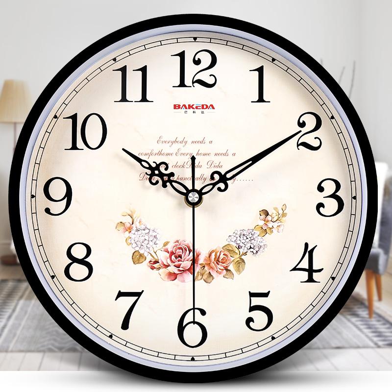 巴科达钟表卧室挂表客厅静音挂钟时尚田园卡通石英钟创意欧式时钟