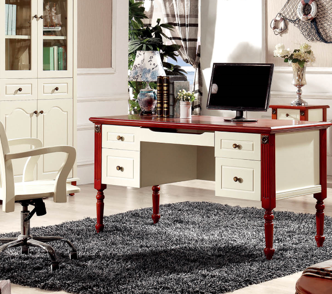 新款地中海美式乡村家具儿童书桌书台电脑桌书架组合转角书桌转椅