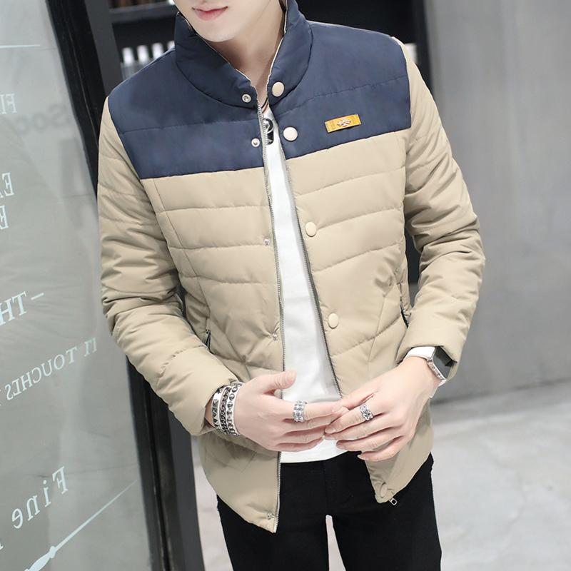 纯色修身保暖棉衣青年外套冬装棉袄男士夹克羽绒