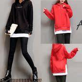秋冬新款韩版学生假两件连帽字母中长款卫衣女加绒宽松套头外套潮