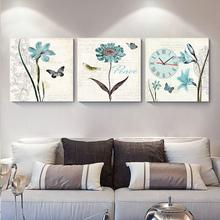 三联无框画挂钟客厅装饰画餐厅挂画 卧室床头画钟表现代创意壁画