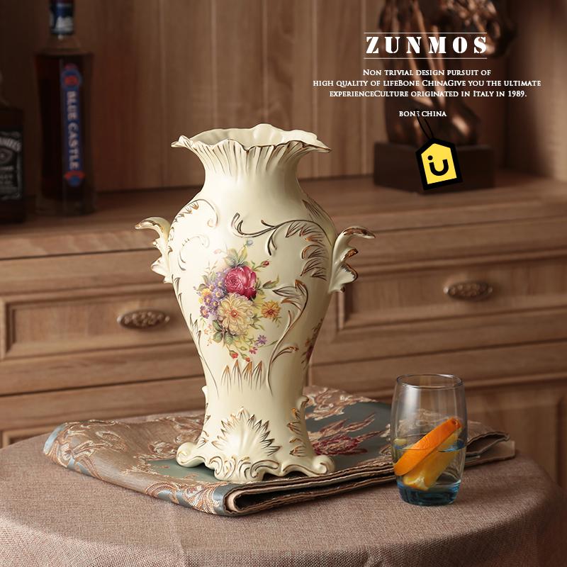 尊慕斯欧式花瓶摆件陶瓷插花瓷器客厅电视柜小大花瓶