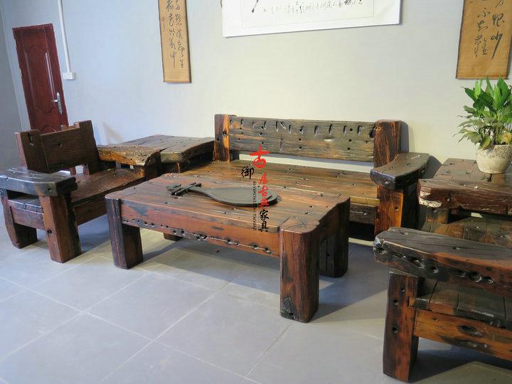 新品老船木别墅成套家具实木四件套客厅会客卧室整装仿古沙发特价