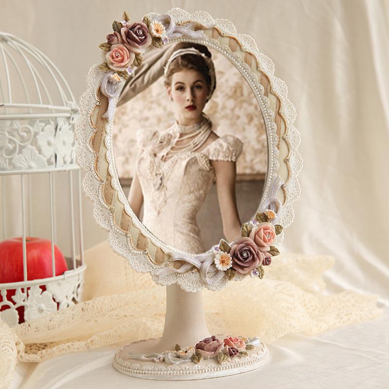 欧式蕾丝公主镜子书桌美容化妆台式镜结婚礼品