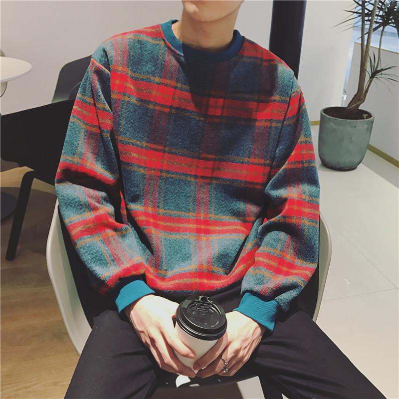 奥色OHSARE冬季加厚格子卫衣男韩版潮流学生宽松帅气毛呢上衣外套