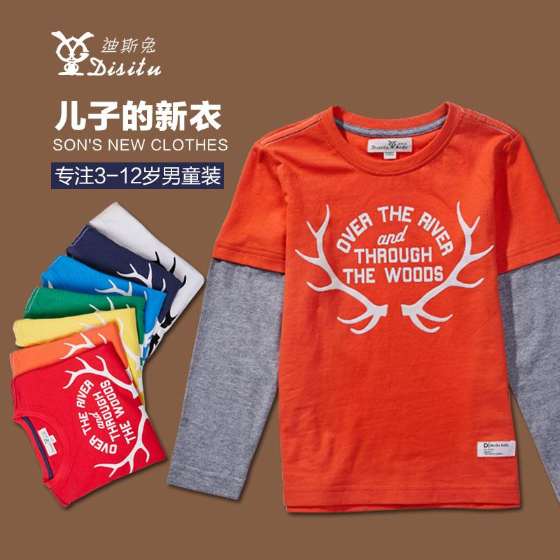 童装男童t恤休闲圆领套头中大童假两件t恤儿童长袖韩版t恤新品潮图片