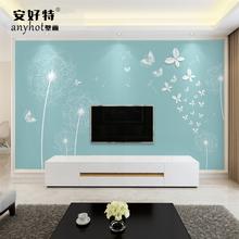 电视背景墙壁纸现代简约客厅无纺布3d立体凹凸影视墙 蒲公英蝴蝶