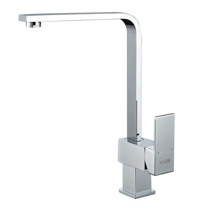 度旋转水龙头 360 艺莎全铜水龙头方形厨房水槽冷热洗菜盆