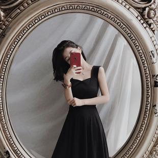 2017新款夏季复古无袖吊带显瘦高腰气质优雅连衣裙中长款小黑裙女