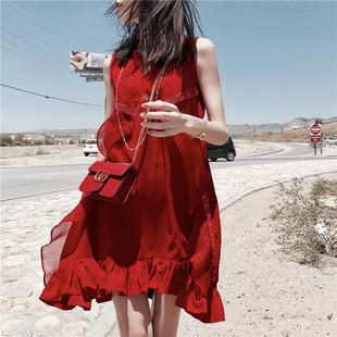 2017夏装新款韩版气质中长款雪纺吊带连衣裙女宽松无袖背心裙子潮